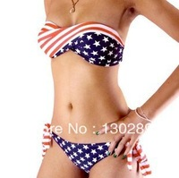 FREE SHIPPING, 2014  new  fashion HOT SALE VS United States flag-wrapped printed women's  bikini set swimwear