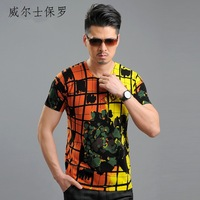 Ves . pl 2013 spring and summer fashion small V-neck Men short-sleeve sweater male summer sweater modal