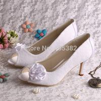 Free Shipping Lace Women High Heels Dress Shoes Flower Wedding Bridal Peep Toe Size 34~42