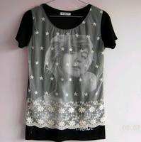 Free shipping 2013 medium-long white yarn reticular beauty head pattern black t-shirt