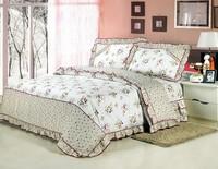 100% cotton print ruffle double bed skirt piece set