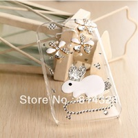 NEW cute rabbit Bling Diamond crystal Hard Back plastic Case cover skin For Nokia Lumia 710