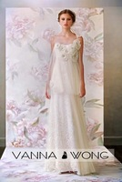 292 - Special soft net with lace and flower bridal wedding dress beach gown 2013 spring new style free shipping