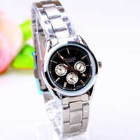 2013 NEW arrival Fashion leisure three eyes six needles stainless steel band women watch 163434