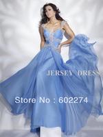 Blue Green V-neck Long Design Chiffon Bridal Formal Evening Dress Free Shipping