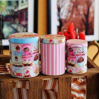 Free Shipping! 3pcs/lot Storage Jars Set Cake Design Round Shape Cookie Tin Box Set Candy Can