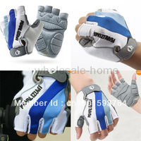 Wholesale !!!   NEW Blue Cycling Bike Bicycle Motorcycle Half Finger Silicone Comfortable Gloves Free Shipping From SGBRAM