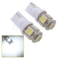2pcs/lot T10 5050 W5W 501 5 SMD LED White Car Side Wedge Tail Light Lamp Bulb DC 12V Free Shipping Wholesale