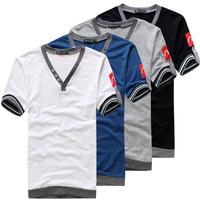 2013 summer male solid color v-neck T-shirt male V-neck T-shirt short-sleeve shirt slim casual basic t-shirt