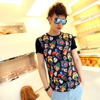 2013 poker clown print short-sleeve t-shirt male slim tee shirt 100% cotton t-shirt male