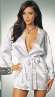 Free Shipping 2013 Hot Sale White Satin With Ribbon Trim Sexy Robe F4038