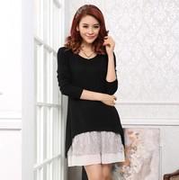 Free Shipping Spring Autumn  Women 2014   Long Sleeve Dress,  BIG SIZE  Female Casual Dresses L XL XXL XXXL