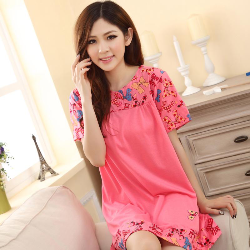 2014 Plus size women's nightgown cotton female summer pajamas short-sleeve sleepshirts at home(China (Mainland))