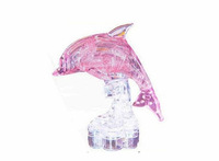 New Product 3D Crystal Puzzle Shining Pink Dolphins,with LED lights,Crystal Dolphins,Creative DIY toys and Gifts,Free shipping