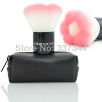Free Shipping~ Beauty Makeup Kabuki Brush Pink Flower Design Cosmetic Blush Brushes with Black Case, Dropshiping
