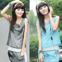 Free Shipping 2013 women's summer short-sleeve T-shirt sports casual culottes twinset set