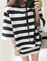 Free Shipping Trend stripe t-shirt short skirt bust skirt fashion sports set female k10
