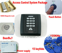 RFID ProximityAccess Control System Packages+ Free Shipping+125KHz+15 cards+keypads waterproof