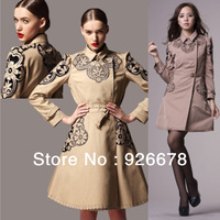 2013 autumn fashion style brand new high quality women cotton wind coat trench coat, OL cotton embroidered trench coat