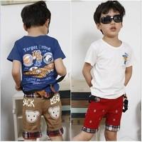 Free Shipping Short Sleeve 100%Cotton Pliot Printed Tshirt Size100-140 Summer TShirt 5Pcs/Lot 2Colour Blue and White