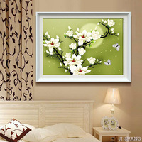 Print 3d silk embroidery painting blooping rich