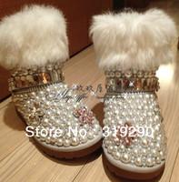 2013 Fashion Womens Winter Cowhide Leather Ankle Boots Luxury Rabbit Fur Rhinestones Diamond Snow Boots
