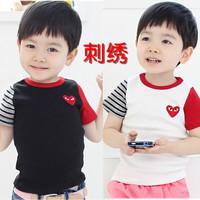 Wholesale 5Pcs/Lot Korean Style 100%Cotton Boy Tshirt Size90-130 Summer Wear Kids Shirt 2 Colour Black White Free Shipping