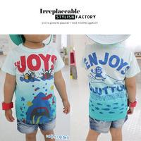 Hotsale Free Shipping Korean Style100%Cotton Big Shark Printed Tshirt Size100-140 Summer Shirt 5Pcs/Lot Kids Shirt