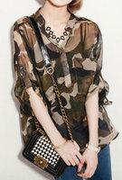 Free Shipping  free size Women V-NECK Shirt Long Sleeve Camouflage Print Shirt Blouse, Camo Cool Tops,free shipping