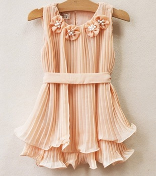 free shipping hot sell Girls Korean Ladies flowers pleated dress kids Ruffle Chiffon fairy Dress 2colors 6pcs/lot
