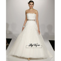13W010 Strapless A-Line Tulle Brush Train Gorgeous Luxury Unique Brilliant Bridal Wedding Dress Free Shipping
