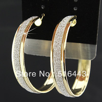 Freeshipping  Guaranteed 100% Charms 6Pairs Fashion Gold P Frosted Hoop Earrings for Women Wholesale Jewelry Lots A-669