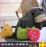 Cute pillow dual small quilt cartoon car air conditioning blanket folding summer is cool thin blanket cushion pillow