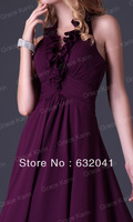 Buy 2013 Brown Chiffon V-neck Hanging Neck Beautiful Flowers Empire Waist Line Sexy Dress Free Shipping HK0159