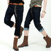 2013 Hot Selling Front Fly Breasted Denim Fashion Knee Length Trousers Male Capris Jeans Free Shipping