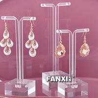 Free Shipping Innovative Tubularis Shape 3 Straight Acrylic Earring Display Stands Holder  Set