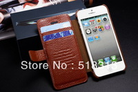 100% Genuine Leather Case for Iphone 5G Wallet Real Leather Case Cover For iPhone 5 Cell Phone