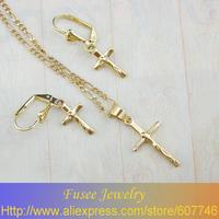 TZ6010086 18K Gold Filled Fashion cross Jewelry Set
