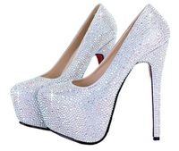 Ally fashion shoes crystal shoes rhinestone high-heeled shoes red wedding shoes bridesmaid party shoes