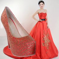 Ally shoes ultra high heels red wedding shoes net fabric thin heels fashion sexy female high-heeled shoes