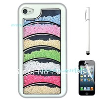 Free Shipping White Rainbow Luxury 3D Handmade Crystal Diamond Hard Case Cover for iPhone 4 4S+Stylus+Screen protection film