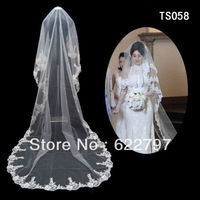 Cathedral Cut Ivory White 3M 1T Long Wide Lace Purfle Beaded Bridal Veils Tulle Wedding Dress Veil Custom Bridal Veils Mantilla