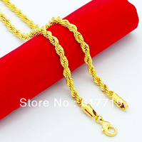 24KN-067 Free Shipping 24K Yellow Gold Plated 4MM Twist Chain Long Men Necklace Greatbuy21 Jewelry Mixed Order Wholesale