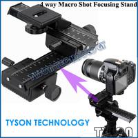 "4 way Macro Shot Focusing Rail Slider 1/4""Quick Plate Tripod Stand for Canon Nikon DSLR 4-Way Camera Macro Stand Free Shipping"