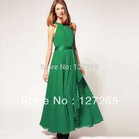 2013 Hot Sale Fashion Chiffon Long Dress Retro Asymmetrical Dress Off The Shoulder Sleeveless 6 Colors D0076 Free Shipping
