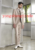 Custom Made Wedding Suit Champagne Wedding Suits Best Man Groomsmen Suit Design Tuxedo (Jacket+Pants+Vest+Tie) MS0329