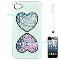 White Heart Luxury 3D Handmade Crystal Diamond Hard Case Cover for iPhone 4 4S+Stylus+Film
