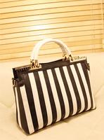 2013 spring and summer fresh brief metal clip black and white stripe color block one shoulder handbag
