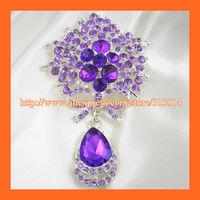 Free Shipping!100pcs/lot 73*45mm Purple Waterdrop Rhinestone Brooches ,Wedding Bridal Pins ,Bonquet PIN ,