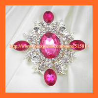 Free Shipping!150pcs/lot 70*65mm Rhinestone Brooch With Flatback Make of  Silver Plated.Rhinestone buckle for gift box